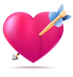 Pink glossy hearts with arrow vector