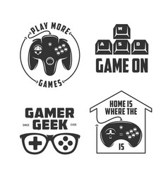 Retro video games related t-shirt design set vector