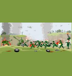 Armies on battlefield vector