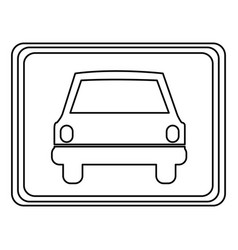 Square with car front inside vector