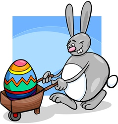 Bunny and easter egg cartoon vector
