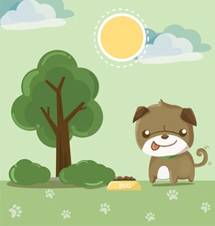 Pug smile in the garden vector