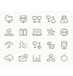 Network hosting and servers line icons vector