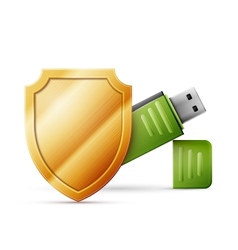 Usb flash drive with shield data protection vector