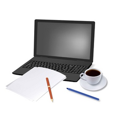 Coffee and laptop and paper shut vector