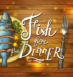 Realistic fish and old cutting board vector
