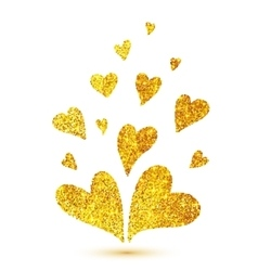 Golden glitter hearts isolated at white background vector