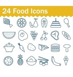 Thin line food icons set outline icon collection vector