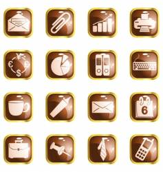Square brown high-gloss office buttons vector