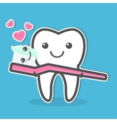 Tooth and toothbrush vector image