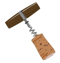 Corkscrew with cork vector