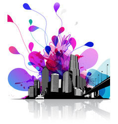 abstract sky with cityscape and bridge on the vector image