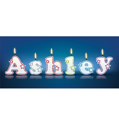 Ashley written with burning candles vector