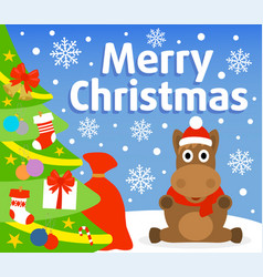 Christmas background card with horse vector