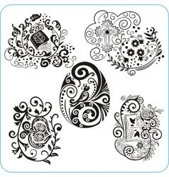 Easter Design - set floral symbols vector image vector image