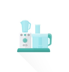 Flat style white food processor vector
