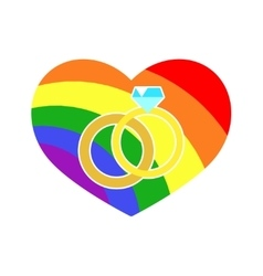 Gay lgbt wedding rings rainbow heart vector