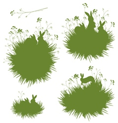 Grass rabbits banners vector