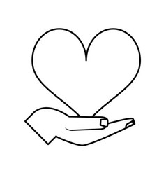 Hand and cartoon heart icon image vector