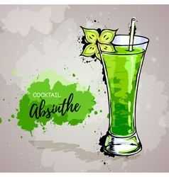 Hand drawn cocktail absinthe vector