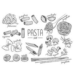 Hand drawn pasta set vintage line art vector