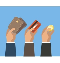 Hands with card wallet and coin vector