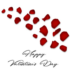 happy valentines day card with flower rose petals vector image vector image