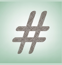 hashtag sign brown flax icon vector image vector image