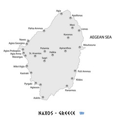 Island of naxos in greece white map vector