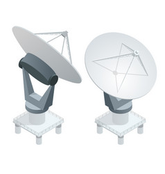 Isometric satellite dish antennas on white vector