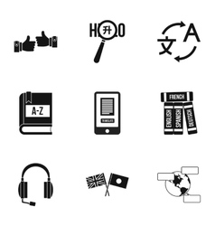 Languages icons set simple style vector image