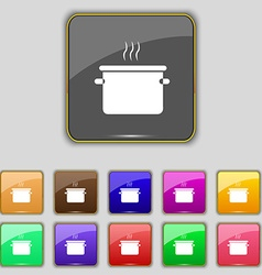 Pan cooking icon sign set with eleven colored vector