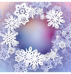 Round snow frame with place for text vector image
