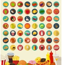 Set of flat design icons for food and drink vector