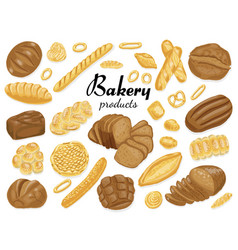 set of isolated colored bakery products vector image