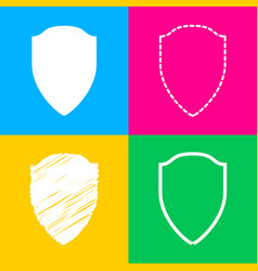 shield sign four styles of icon on vector image