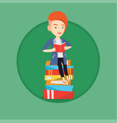 student sitting on huge pile of books vector image vector image