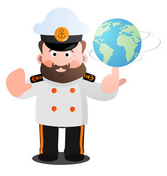 the captain twists the globe with a cartoon funny vector image vector image