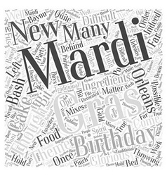 Throwing a mardi gras birthday bash word cloud vector