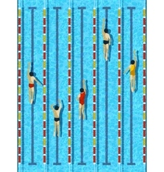 Top view swimming pool with athlete swimmers vector image vector image