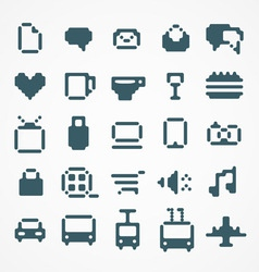 Pixel web icons collection vector image