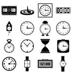 Clocks icons set simple style vector image