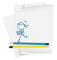 A paper with a drawing of a girl bringing books vector
