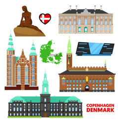 Denmark copenhagen travel set with architecture vector