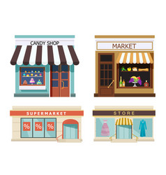 Storefront set of different colorful shops market vector
