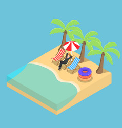 Isometric businessman relaxing on the beach vector