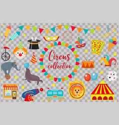 Circus collection flat cartoon style set vector