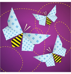 Colorful origami bees with patterns and paths vector image