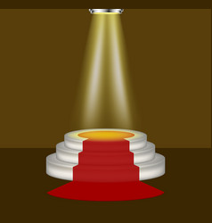 Light shines on the empty podium with red carpet vector