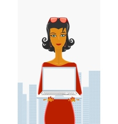 Secretary and laptop vector image